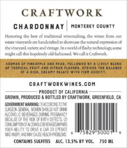 Craftwork 2019 Chardonnay Back Label