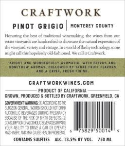 Craftwork 2019 Pinot Grigio Back Label
