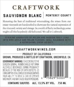 Craftwork 2019 Sauvignon Blanc Back Label