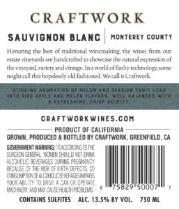 Craftwork 2019 Sauvignon Blanc Back Label – transp