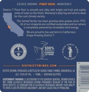 District 7 NV Pinot Noir Back Label