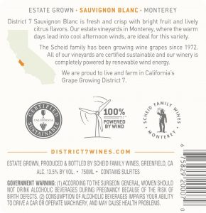 District 7 NV Sauvignon Blanc Back Label