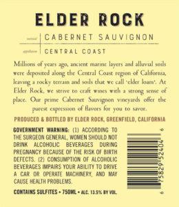 Elder Rock 2017 Cabernet Sauvignon Back Label