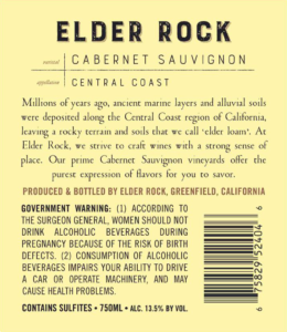 Elder Rock 2017 Cabernet Sauvignon Back Label – transp