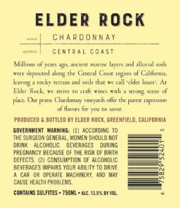 Elder Rock 2018 Chardonnay Back Label