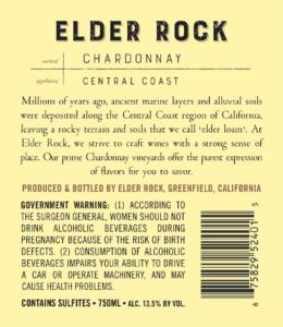 Elder Rock 2018 Chardonnay Back Label – transp