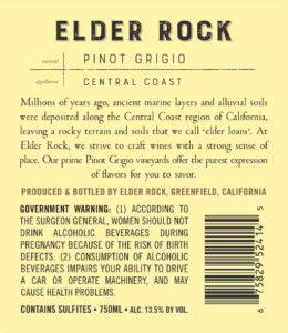 Elder Rock 2018 Pinot Grigio Back Label