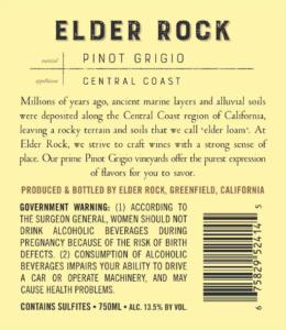 Elder Rock 2018 Pinot Grigio Back Label – transp
