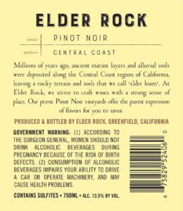 Elder Rock 2018 Pinot Noir Back Label
