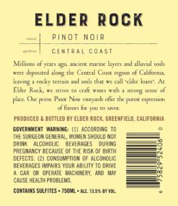 Elder Rock 2018 Pinot Noir Back Label – transp