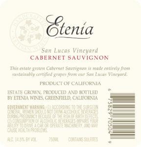 Etenia 2018 Cabernet Sauvignon Back Label