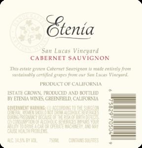Etenia 2018 Cabernet Sauvignon Back Label – transp