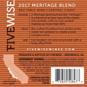 Five Wise 2017 Meritage Back Label