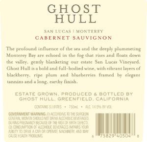 Ghost Hull 2018 Cabernet Sauvignon Back Label