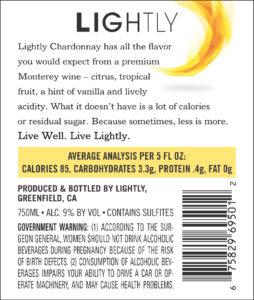 Lightly 2019 Chardonnay Back Label