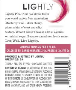 Lightly 2019 Pinot Noir Back Label