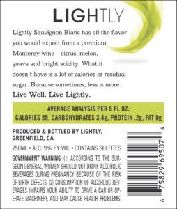 Lightly 2019 Sauvignon Blanc Back Label
