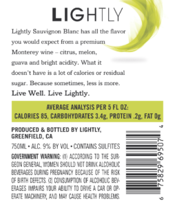 Lightly 2019 Sauvignon Blanc Back Label – transp