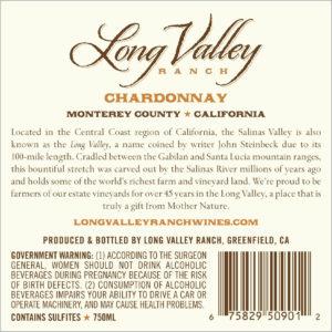 Long Valley Ranch 2018 Chardonnay Back Label