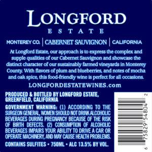 Longford Estate 2018 Cabernet Sauvignon Back Label