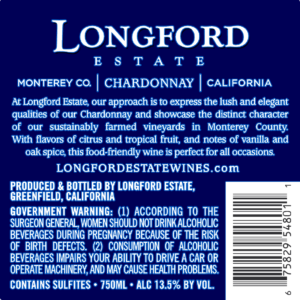 Longford Estate 2018 Chardonnay Back Label – transp