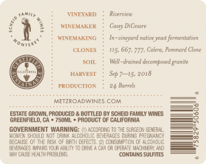 Metz Road 2018 Pinot Noir Back Label – transp