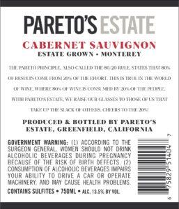 Pareto's Estate 2018 Cabernet Sauvignon Back Label