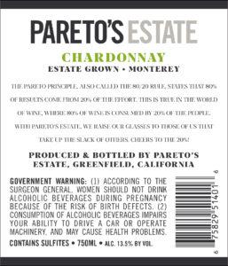 Pareto's Estate 2018 Chardonnay Back Label