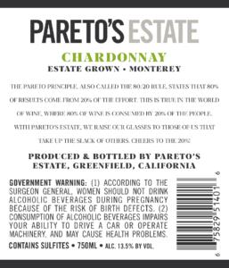 Pareto's Estate 2018 Chardonnay Back Label – transp