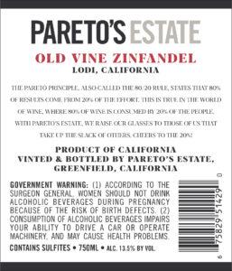 Pareto's Estate 2019 Zinfandel Back Label