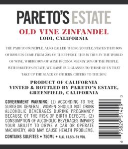 Pareto's Estate 2019 Zinfandel Back Label – transp