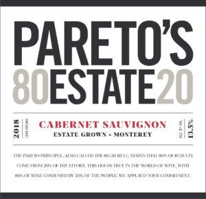 Pareto's Estate 2018 Cabernet Sauvignon Front Label