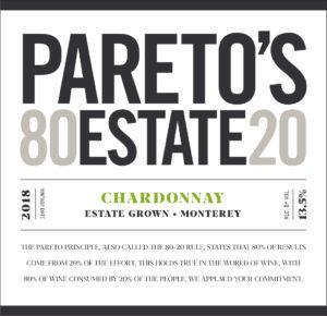 Pareto's Estate 2018 Chardonnay Front Label