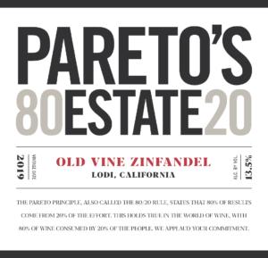 Pareto's Estate 2019 Zinfandel Front Label – transp