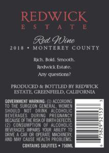 Redwick Estate 2018 Red Blend Back Label