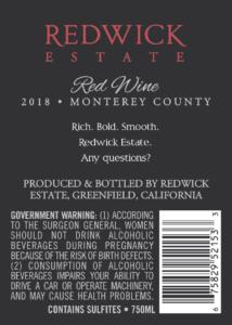 Redwick Estate 2018 Red Blend Back Label – transp