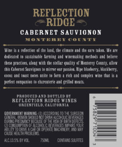Reflection Ridge 2018 Cabernet Sauvignon Back Label