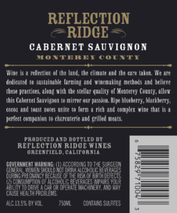 Reflection Ridge 2018 Cabernet Sauvignon Back Label – transp