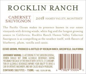 Rocklin Ranch 2018 Cabernet Sauvignon Back Label