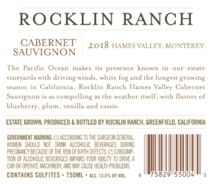 Rocklin Ranch 2018 Cabernet Sauvignon Back Label – transp