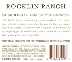 Rocklin Ranch 2018 Chardonnay Back Label – transp