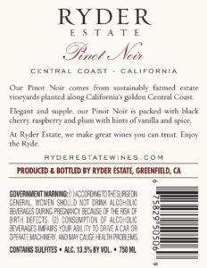 Ryder Estate 2018 Pinot Noir Back Label