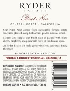 Ryder Estate 2018 Pinot Noir Back Label – transp