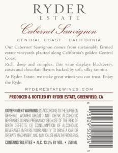 Ryder Estate 2018 Cabernet Sauvignon Back Label