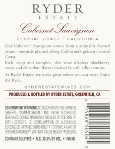 Ryder Estate 2018 Cabernet Sauvignon Back Label – transp