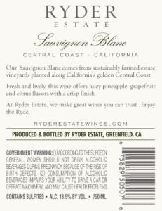 Ryder Estate 2019 Sauvignon Blanc Back Label – transp
