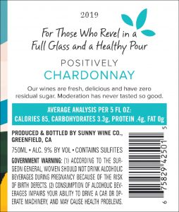 Sunny 2019 Chardonnay Back Label