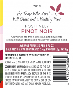 Sunny 2019 Pinot Noir Back Label – transp