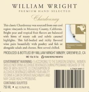 William Wright 2017 Chardonnay Back Label – transp
