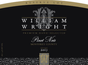 William Wright 2017 Reserve Pinot Noir Front Label